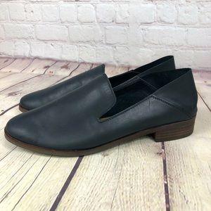 NWOT Lucky Brand Cahill Black Leather Slip On Slight Heel Loafers